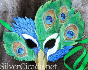 Leather Peacock Masquerade Mask READY to SHIP Great for Halloween Burning Man Masquerade Costume LARP Cosplay Dragon con