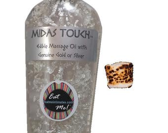 Midas Touch™ Edible Gold & Silver Massage Oil - Marshmallow Natural Vegan, water based, 24k Gold 999 Silver