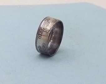 Silver coin ring Oklahoma State quarter year 2008 size 7 1/2, 90% fine silver jewelry unique  gift FREE SHIPPING