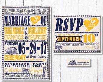 Farm Poster Wedding Invitation Set   Rustic Barn Wedding Invitations    Hatch Print Nashville Wedding StationeryNashville invitation   Etsy. Nashville Wedding Invitations. Home Design Ideas