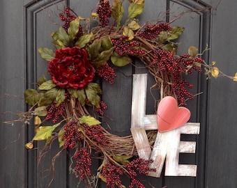 "Valentines Day Wreath Door Decor..""Love"""