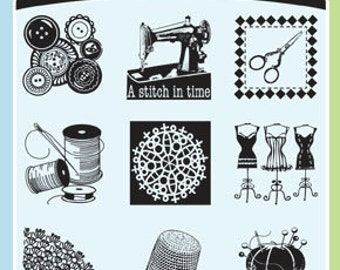 Inkadinkado Clear Stamp Set with Stamping Block - Inchies - A Stitch in Time