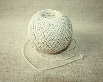 2 mm Cotton Yarn - 1 ball twisted thread - kitchen cord - food cord - Great House Decor - Natural White Macrame Rope