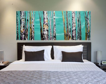 READY TO SHIP 16x40 Original Colorful Woodland Cabin Modern Forest Aspen/Birch Tree Painting Teal Gold Plum