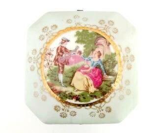 Courting Couple Trinket Box // Engagement Ring Wedding Bands Ring Bearer // Lefton Vintage Renaissance