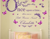 Personalised Name, Once Upon a Time Princess - Wall Art Sticker & 3D Acetate Plastic Pink/Blue Butterflies, Girls Bedroom 120cm W x 89.1cm H
