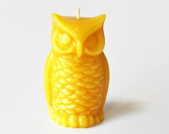 Owl beeswax candle, pure beeswax candle