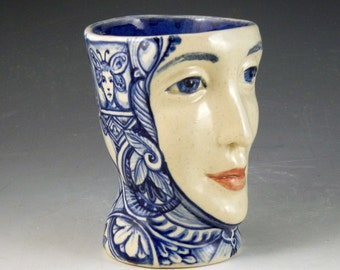 Face cup blue and white porcelain hand painted one of a kind delft style