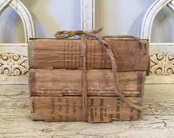 Farmhouse Tattered Book Stack  - Rustic Home Decor - Library Wedding - Antique, One of a Kind Decor
