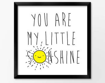 Sunshine Nursery Art Printable, Instant Download Illustration by Sleepy Cloud Studios