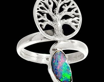 Size 7.5 Beautiful Wellspring of Fire Rich Australian Opal Natural Doublet. Solid Sterling Silver Ring 7232