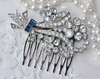 1920s Authentic Art Deco Paste Rhinestone Brooch or OOAK Bridal Hair Comb,Silver Pot Metal Crystal Clear Rhinestone,Floral Swag,Flapper Comb