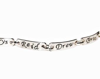 Five Name mom or grandmother bracelet, Sterling Silver, silver message jewelry, brag bracelet, family names bracelet, silver bracelet