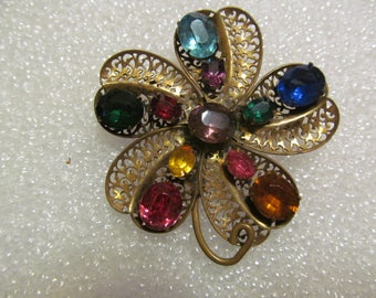 Vintage Rhinestone Flower Brooch Pin Gold Tone Filigree Multi Color Stones