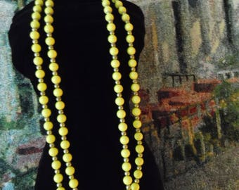 Vintage Yellow Beaded Necklace 52 inch Gold Tone Spacers