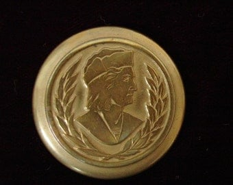 Antique Button, Large Metal Picture Button,  Head of Christopher Columbus  1  1/2""