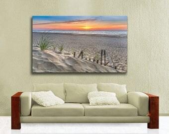 Fenwick Island Delaware Seascape Photography, Large Canvas Gallery Wrap,  Ocean Beach Sand Sunrise Ready to Hang Wall Art, Blue, Orange