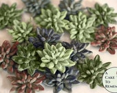 """12 small edible succulents for autumn wedding cake topper. About 1.25"""" wide, various colors. Edible flowers for cake and cupcake decorating."""