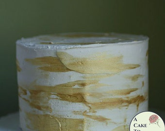 """Gold faux cake for baby photo shoots, 6"""" across. Fake cake prop w/gold streaks for photo booth prop or first birthday photo shoot ideas"""