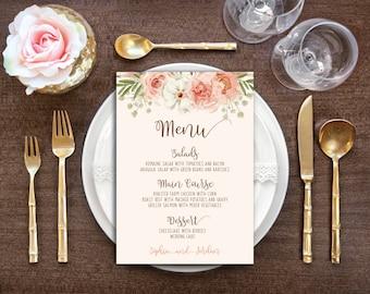 Printable Wedding Menu - DIY Boho Floral Watercolor Wedding - Boho Wedding / Blush Pink Wedding / Rustic Wedding Menu