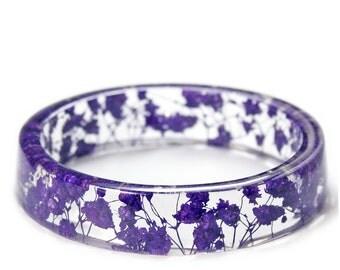 Purple Flower Bracelet - Jewelry with Real Flowers- Dried Flowers- purple Bracelet - real flower bracelet- purple Bracelet- Resin Jewelry