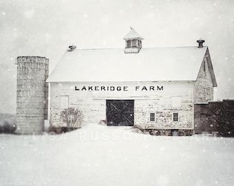 White Barn in the Snow, Rustic Home Decor Barn Art Print or Canvas, Fixer Upper Decor Decor, Winter Farmhouse Decor, White Wall Art Farm.