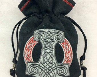 MJOLNIR (THOR'S HAMMER) - Embroidered Drawstring Dice Bag, Tarot Card Bag, Rune Pouch made of faux suede - LaRp Costume Accessory