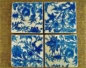 China Blue Coasters Tumbled Marble Coasters Decoupage Coasters 4 Piece Coaster Set Wine Coasters Drink Coasters