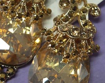 Wedding jewelry earring pale rose gold chandelier earrings