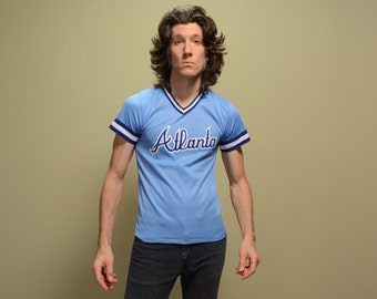 vintage 70s Atlanta jersey v-neck baseball softball Little League Gulf livery 1970 sky blue ringer small XS youth L