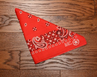 vintage 80s bandana red paisley bandanna 1980 all cotton headband kerchief red black white Crafted With Pride USA