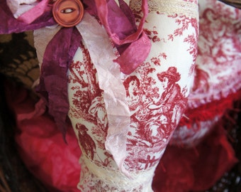 Red & White Toile Long Heart ~ OOAK