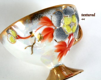 Textured Tea Cup Raised Floral Most Popular Items Top Sellers Art Numbered Teacup Handpainted Orange Gray Yellow- Numbered 24KT