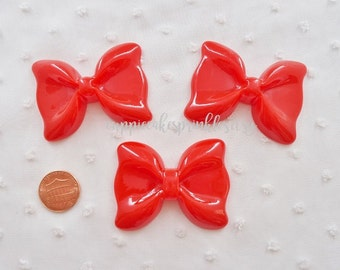 RESTOCKED 1pc - Large Red Ruffle Bow Decoden Cabochon (54x40mm) BWL015