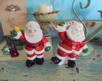 Vintage Santa salt and pepper shakers Christmas decor