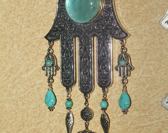 Hamsa wall decor, Hamsa wall hanging, Hamsa, wall hanging Hamsa, metal Hamsa, Turquoise, wall Hamsa, evil eye wall charm, Hamsa home decor