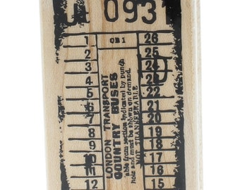 Hampton Art London Transport Country Buses Ticket Wooden Rubber Stamp
