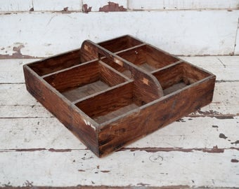 Small Vintage Wooden Divided Tray Tool Box Handled Caddy Tote Rustic Primitive Weathered Brown Farmhouse Handmade Hardware Bolts Nails