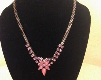 Vintage Pink Moonstones & Rhinestones Necklace with Screw On Earrings Set