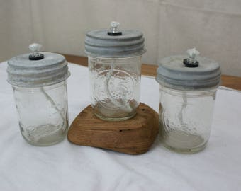 Mason Jar Oil Lamp , Jelly jar size with a Vintage Zinc lid