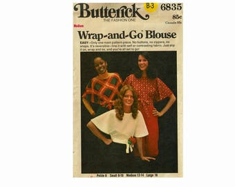 Wrap and Go Reversible Blouse Easy Sewing Pattern Size Medium 12-14 Bust 34-36 1970s Blouse Butterick 6835 Uncut Vintage Pattern
