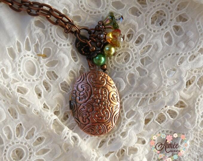 oval brass locket, antique copper locket, victorian locket, fall colors dangles, photo locket, memory locket, vintage locket