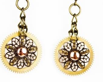 Floral Gear STEAMPUNK Earrings
