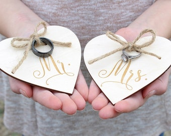 Mr and Mrs Wedding Ring Holders Ring Bearer Ring Holder Engraved Wood Heart Ring Holder Rustic Wedding Ring Holder Heart Ring Holder