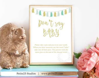 Don't Say BABY shower game, Green Gold Tassels Baby Shower, green baby shower, Instant Download, safety pin game, baby sprinkle, garland