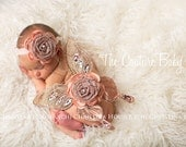 Glamour Rustic Tan and Peach Jeweled Sequin and Glitter Accent Butterfly Wings & Headband 2 Piece Set Newborn Infant Fairy Wings Photo Prop