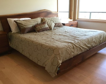 Live edge walnut platform bed with night stands