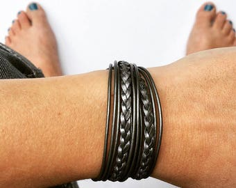 silver leather bracelet. double wrap braided bracelet with lobster clasp extension chain closure.