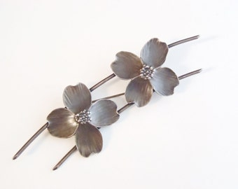 Stuart Nye Sterling Silver Brooch Older Vintage Two Classic Dogwood Blossoms on Curved Wire Arc Design Handmade Signed Nye Clover Logo