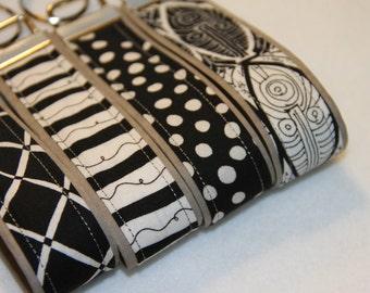 Key fob, Key chain, Wristlet - Black and White - Select One